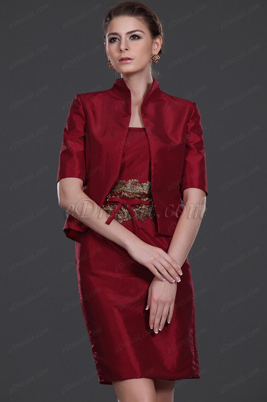 edressit elegante deux pi ce robe de maman rouge 26112202. Black Bedroom Furniture Sets. Home Design Ideas