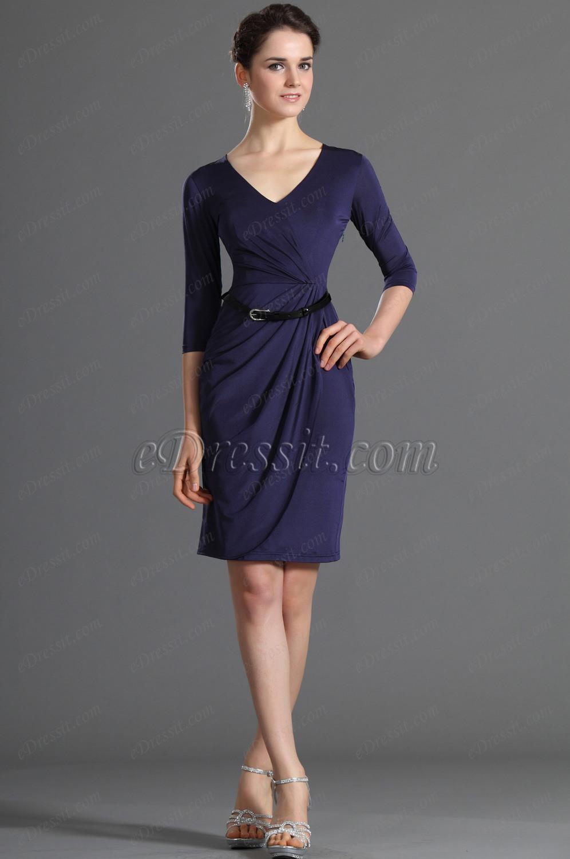 eDressit lang Ärmel V-Ausschinitt schwarz blau Party Kleid Arbeit ...