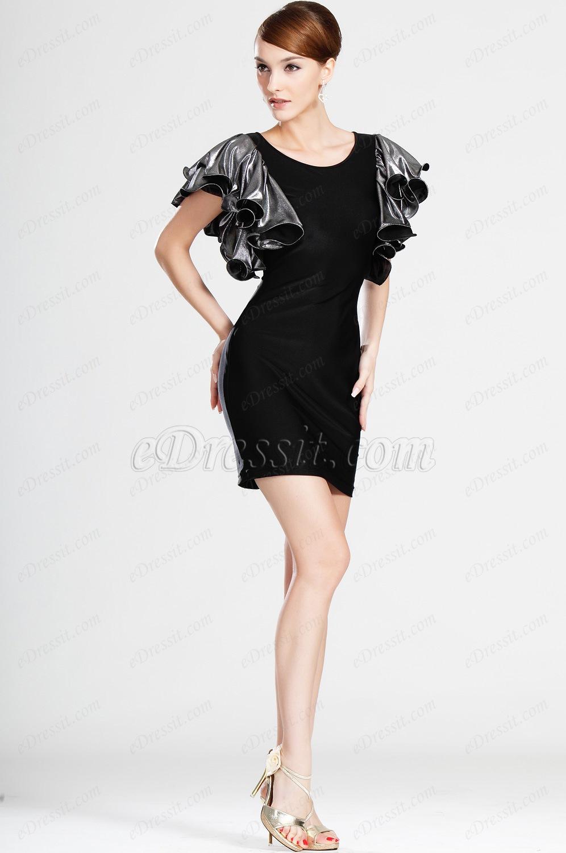 eDressit Kleine Ärmel Schwarz Party Kleid Arbeit Kleid (03121100)