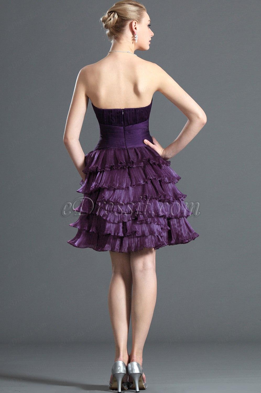 eDressit Süß Trägerlos Lila Cocktail Kleid Ballkleid (04121806)