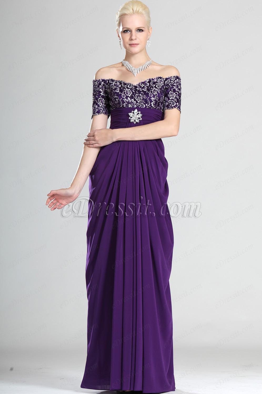 eDressit Eleganz Lila Auf Schulter Kleid der Mutter von Braut (26120306)