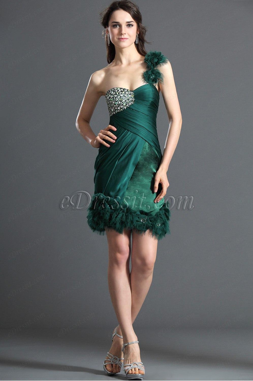 eDressit Fabulous Green One Shoulder Cocktail Dress Party ...