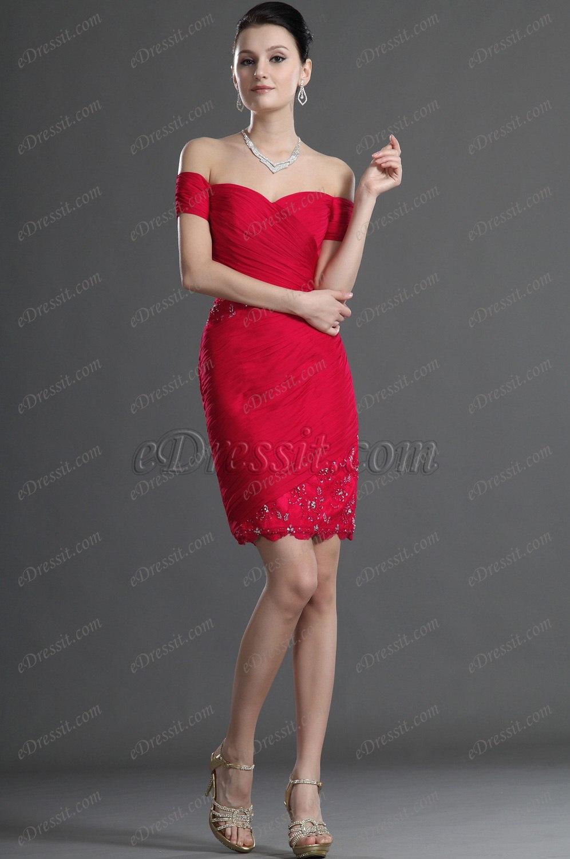 eDressit Rot Offen Schulter Spitze Cocktail Kleid Party Kleid (04124202)