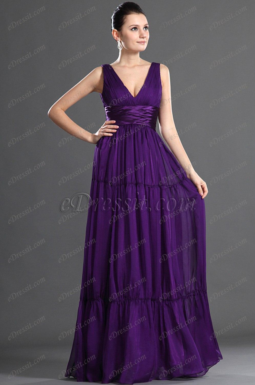 eDressit Escote en V Sexual Vestido de Noche Largo Violado (00126706)