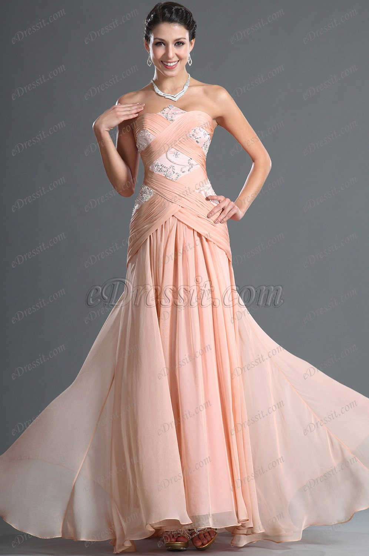 eDressit Elegante Rosado Sin Mangas Vestido Noche (00128401)