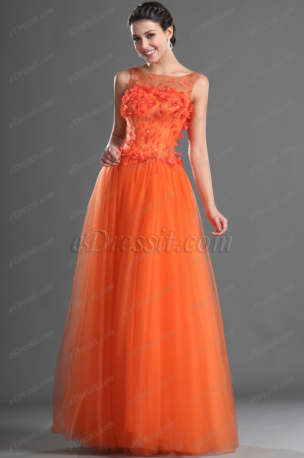 bridal colors edressit flowers sleeves evening dress 02121310 27748