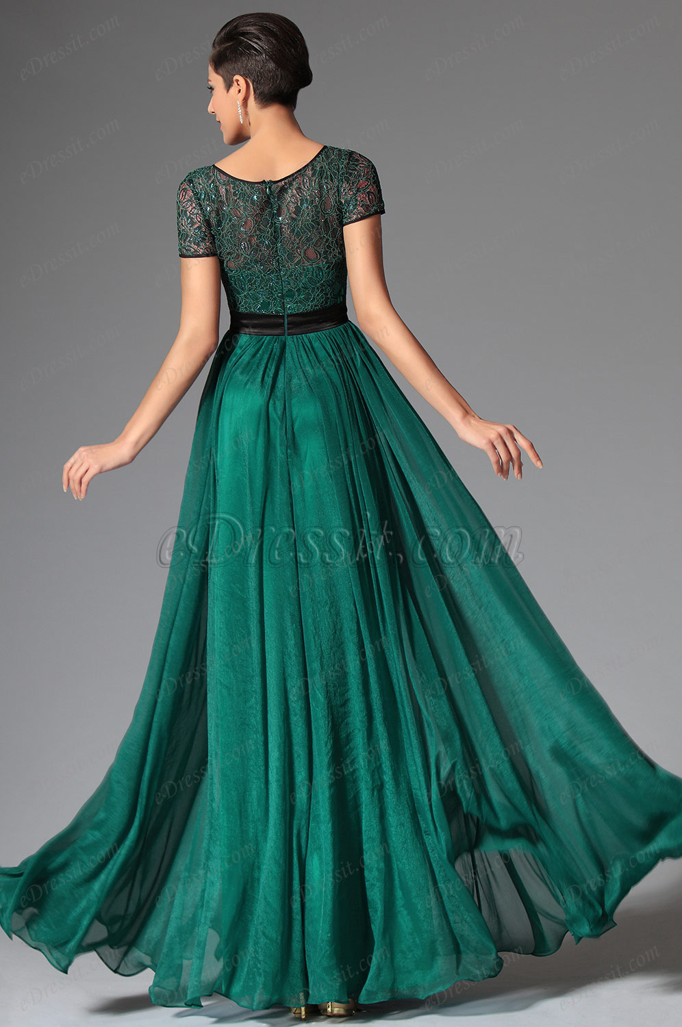 Edressit Dark Green Short Sleeves Evening Dress Prom Dress