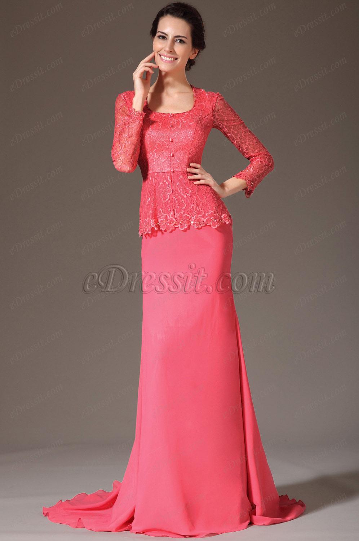 Красно длинное вечернее платье