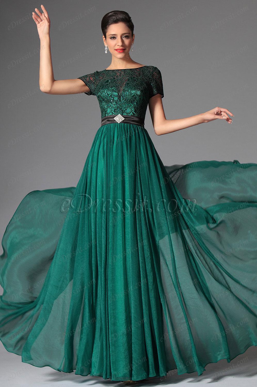 eDressit Dark Green Short Sleeves Evening Dress Prom Dress (02149605)