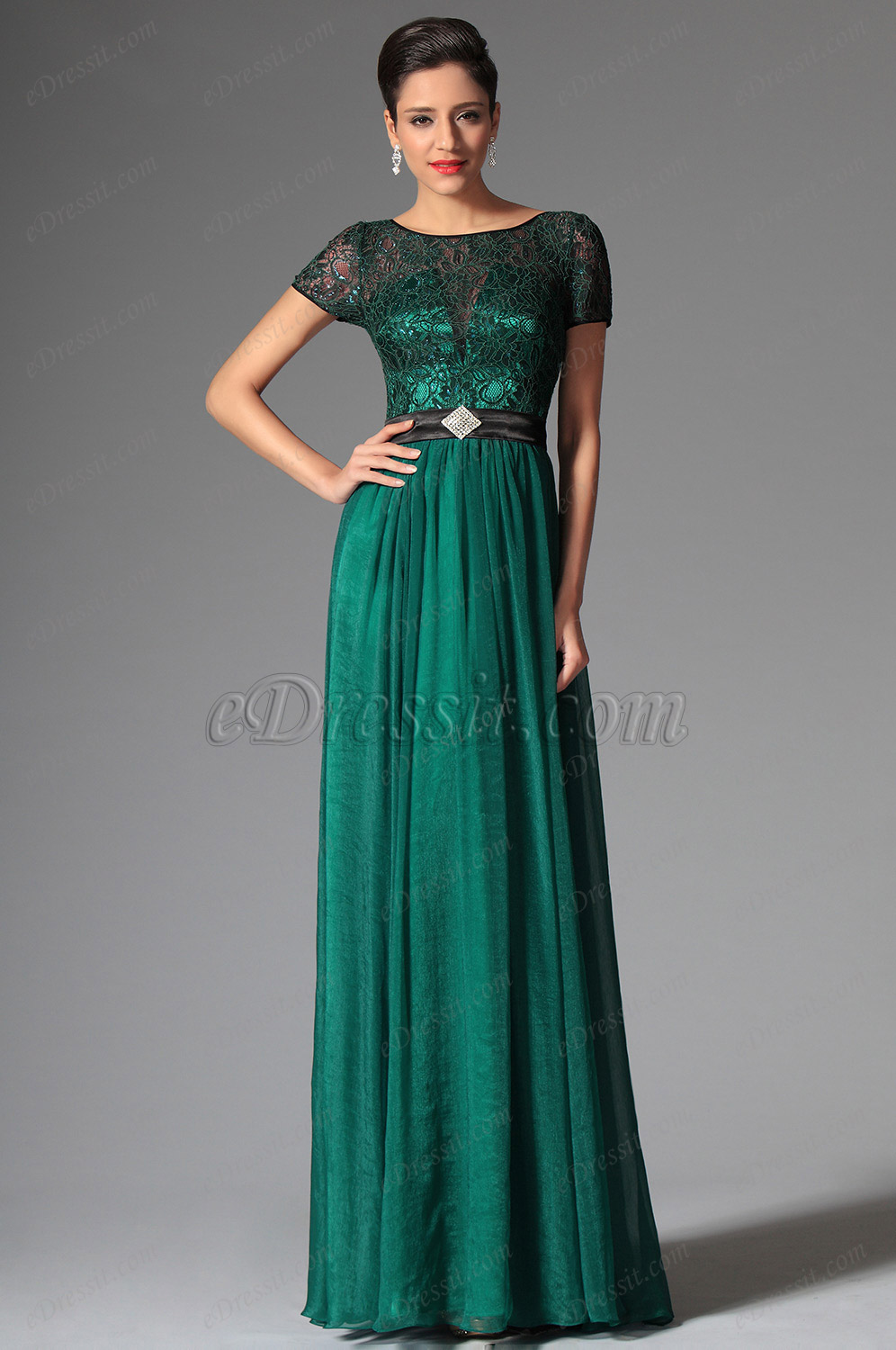 eDressit Dark Green Short Sleeves Evening Dress Prom Dress (02149605)