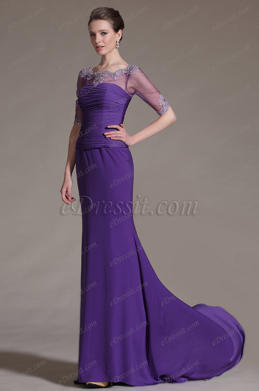 2014 New Purple Lace Neckline Mother of the Bride Dress 26146806 Mother Of The Mother Of The Bride Dresses With Scarf