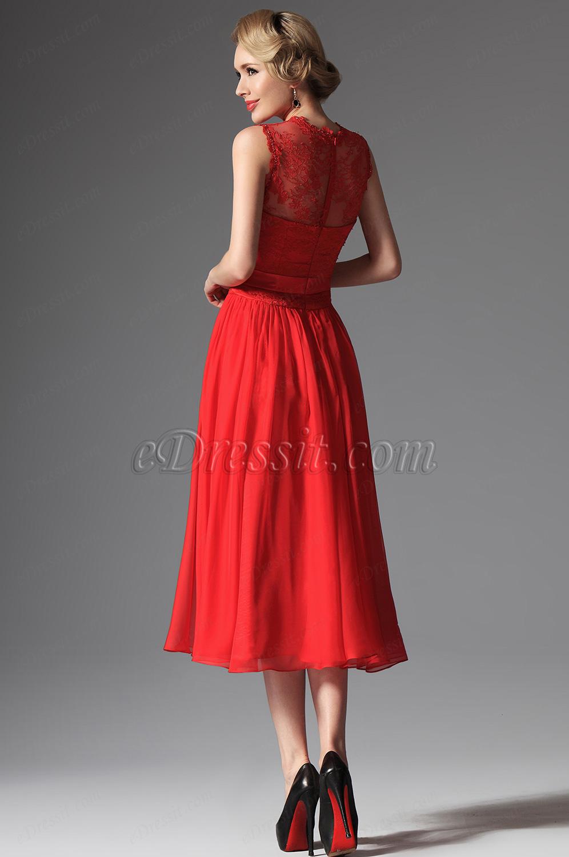 ebd82a84187 Robe de soirée midi rouge en dentelle ...