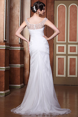 Neu Wunderschön Völlig Beaded Träger Gefaltet Hochzeitskleid Braut Gown (00143307)