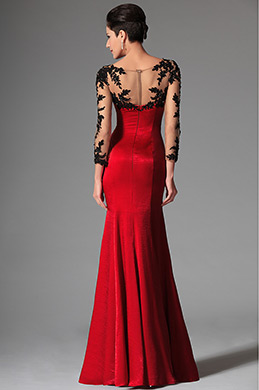 eDressit 2014 New Red Sheer Top Lace Long Sleeves Evening Prom Gown (02146302)