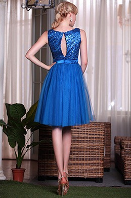 Blue Sleeveless Sequined Cocktail Dress Homecoming Dress (04134405)