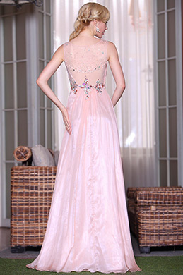 Pink Sweetheart Illusion Neck Graduation Gown Evening Dress (C36143701)