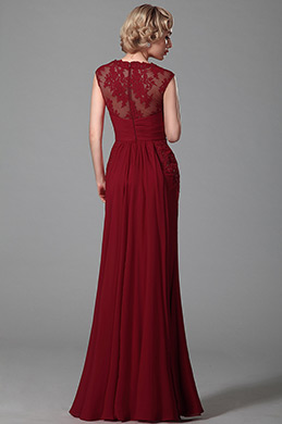 Gorgeous Sleeveless V Neck Red Evening Dress Formal Wear (00152502)