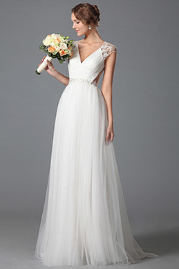 Gorgeous V Cut Lace Embroidery Wedding Gown Bridal Dress (01150207)