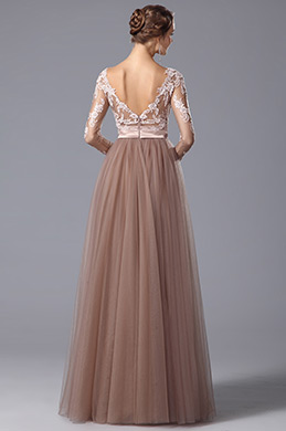 Stunning V Neck Long Sleeves Graduation Dress Prom Gown (02150546)