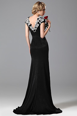 Gorgeous Embroidery Applique Cap Sleeves Black Evening Gown Formal Dress (02151100)