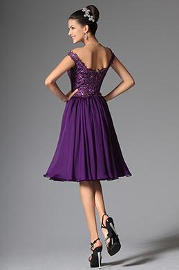 Elegant Off Shoulder Lace Purple Cocktail Dress Party Dress (04145706)