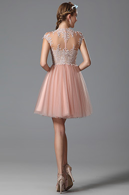 Flattering Delicate Lace Applique Pink Cocktail Dress Party Dress (04150601)