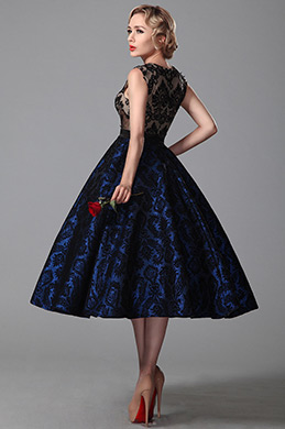 Vintage Sleeveless Tea Length Cocktail Dress Party Dress (04151305)