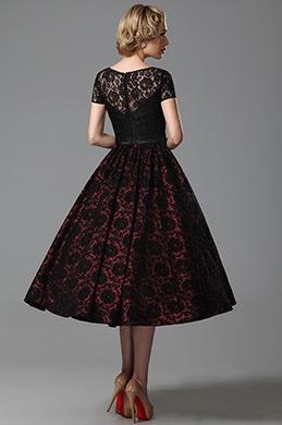 Vintage Short Lace Sleeves Tea Length Cocktail Dress Party Dress (04151417)
