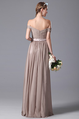 Simple Off Shoulder Ruched Bodice Bridesmaid Dress Evening Dress (07150546)