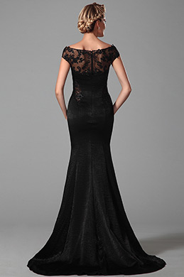 Stunning Black Cap Sleeves Mother of the Bride Dress (26151900)