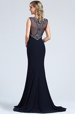 41d8758f750 Robe chic bleu marine robe longue corail