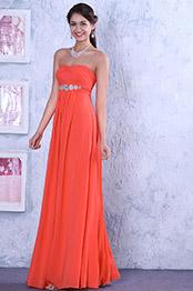 Robe demoiselle d'honneur bustier orange taille empire avec perles (00111657)