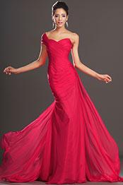 eDressit Artikel Elegant Rot Ein Schulter Abendkleid (00132102)