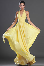 eDressit New Elegant Halter Yellow Evening Dress (00132603)