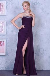 Robe de soirée bustier fendue violette élégante et sexy (00139206)