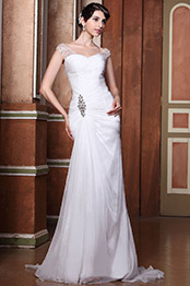New Stunning Fully Beaded Shoulder Ruched Wedding Dress Bridal Gown (00143307)