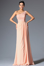 A Line One Shoulder Top Lace Floor Length Evening Dress (00148401)