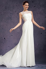 eDressit New Round Neckline Delicated Lace Appliques Wedding Gown (01130907)