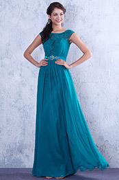 Robe de soirée charmante bleue dentelle à mancherons (02132205)