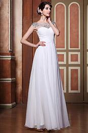 Robe de mariée classique drapée dans traîne avec perles brillantes (02143707)