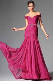 Elegant Heiß Rosa Ab Schulter Abendkleid Formal Kleid(02147312)