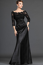 eDressit Stylish Black Lace Sleeves Mother of the Bride Dress (26121800)