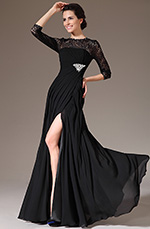 eDressit 2014 New Black Lace Round Neckline High Slit Mother of the Bride Dress (26141200)