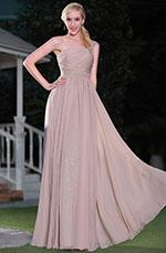 Robe demoiselle d'honneur asymétrique brune rosé coupe simple (00115146)
