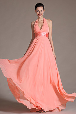 2014 Novedad Elegante Halter Sexy V Vestido de dama (C00091846)