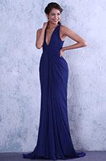 Blau Sexy Tief V-Ausschnitt Neckline Abend-Gown (C00130805)
