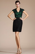 Carlyna 2014 New V-neck Black Lace Bodice Mother of the Bride Dress/Day Dress(C35140404)