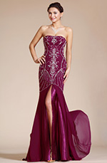 Carlyna 2014 New Strapless High Split Beading Formal Evening Gown Bridesmaid Dress(C36140317)