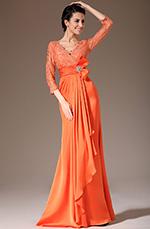 eDressit 2014 New Orange V-Neck Lace Top Mother of the Bride Dress (26140810)
