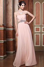 Pleated Strapless Pink Jeweled Evening Gown Bridesmaid Dress (C36144301)